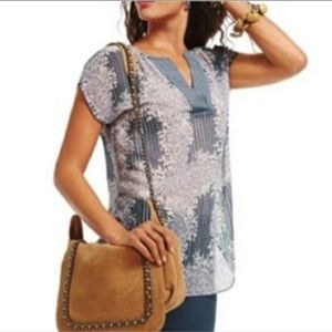 CAbi Semi-Sheer Placket Front Top Size XS